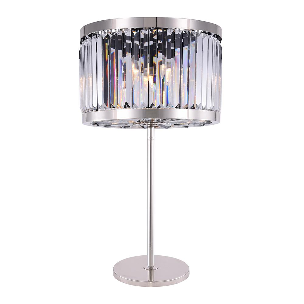 Chelsea 32 Crystal Table Lamp With 4 Lights - Polished Nickel Finish And Clear Crystal Table Lamp