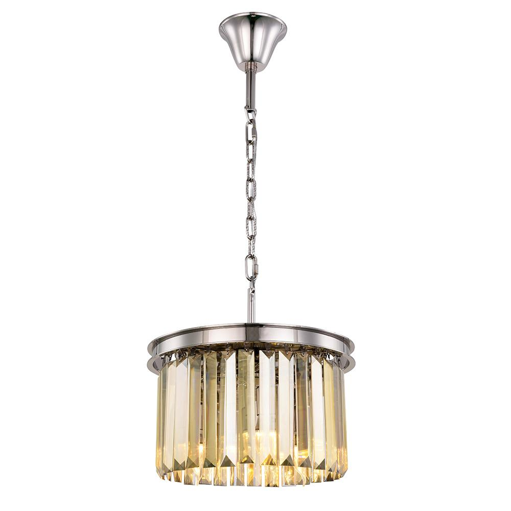 Sydney 16 Crystal Mini Pendant With 3 Lights - Polished Nickel Finish And Smokey Crystal Pendant