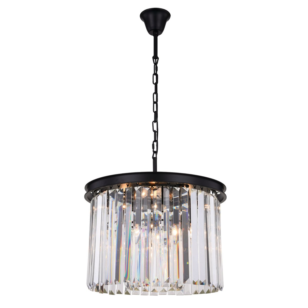Sydney 20 Crystal Pendant Chandelier With 6 Lights - Matte Black Finish And Clear Crystal Chandelier