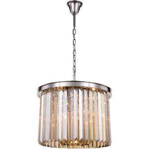 Sydney 20 Crystal Pendant Chandelier With 6 Lights - Polished Nickel Finish And Smokey Crystal Chandelier