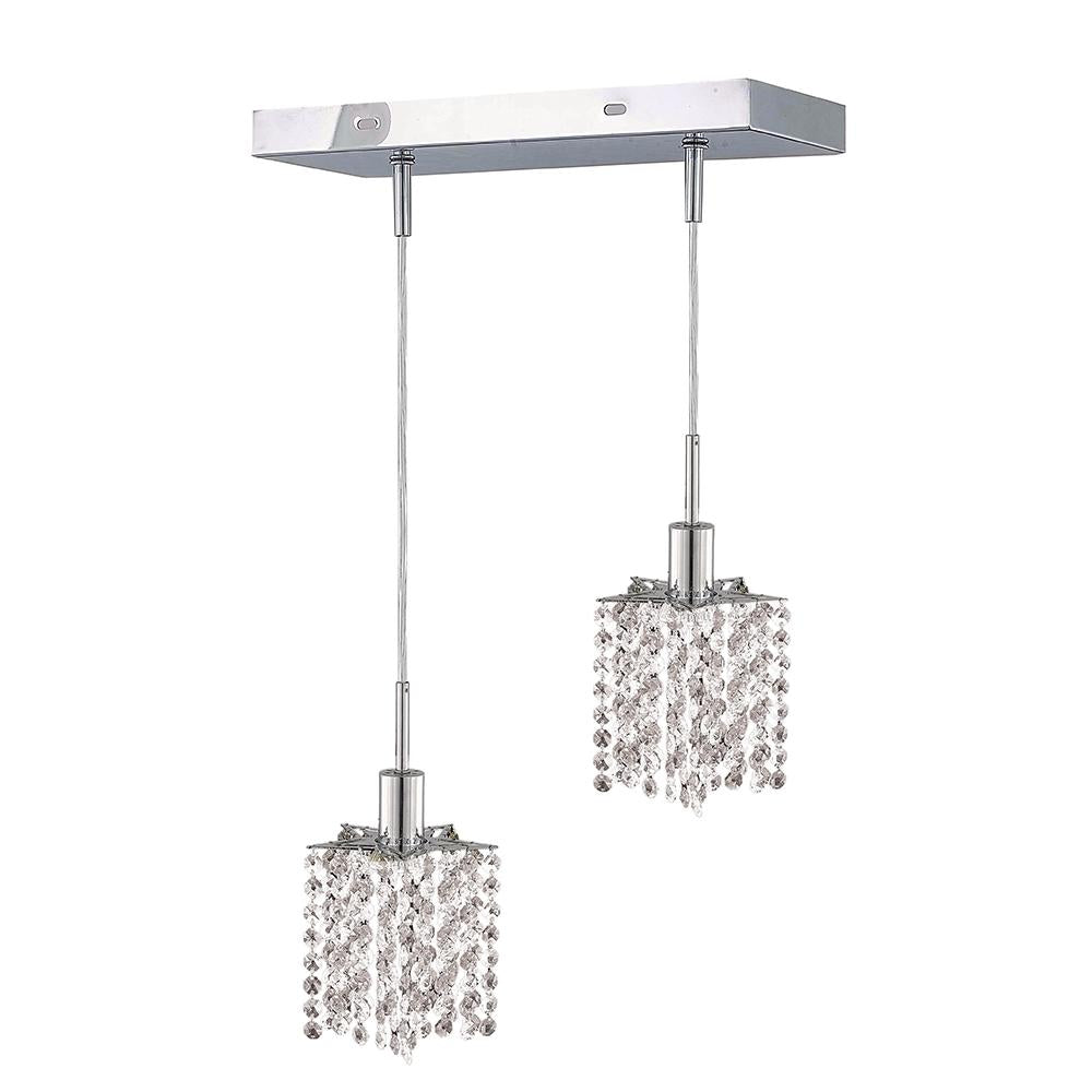 8 Crystal Island Mini Pendant With 2 Lights - Chrome Finish And Elegant Cut Crystal Pendant