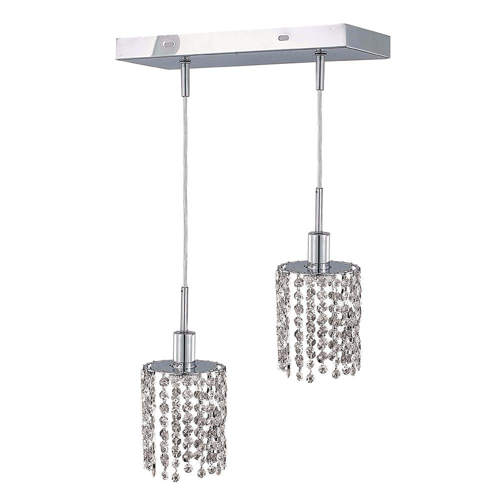 8 Crystal Island Mini Pendant With 2 Lights - Chrome Finish And Royal Cut Crystal Pendant