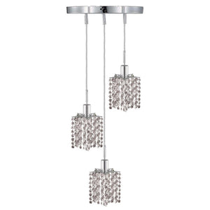 9 Crystal Island Mini Pendant With 3 Lights - Chrome Finish And Spectra Swarovski Crystal Pendant