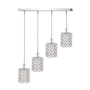 5 Crystal Island Mini Pendant With 4 Lights - Chrome Finish And Elegant Cut Crystal Pendant