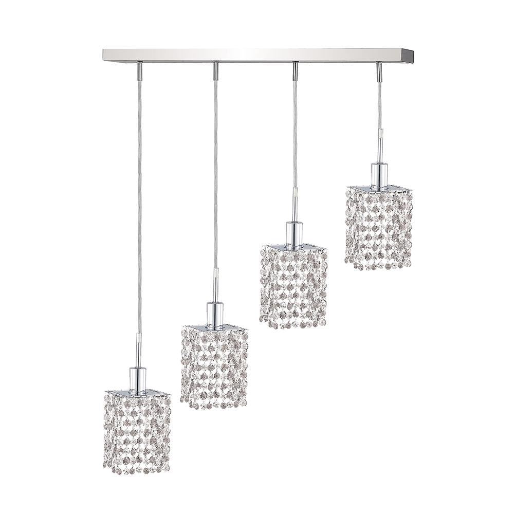 5 Crystal Island Mini Pendant With 4 Lights - Chrome Finish And Royal Cut Crystal Pendant