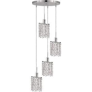 10Crystal Mini Pendant With 4 Light - Chrome Finish And Elegant Cut Crystal Pendant