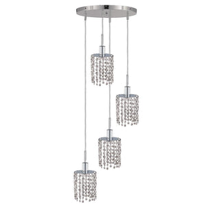10 Crystal Island Mini Pendant With 4 Lights - Chrome Finish And Elegant Cut Crystal Pendant
