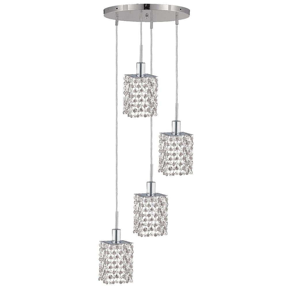 10 Crystal Island Mini Pendant With 4 Lights - Chrome Finish And Royal Cut Crystal Pendant