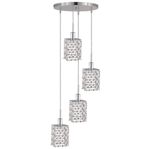 10 Crystal Island Mini Pendant With 4 Lights - Chrome Finish And Swarovski Elements Crystal Pendant
