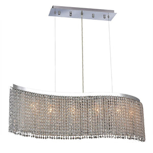 Moda 46 Crystal Chandelier With 6 Lights - Chrome Finish And Royal Cut Crystal Chandelier