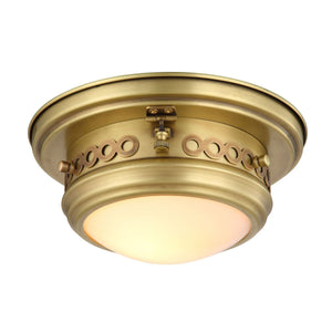 Mallory 10 Flush Mount With 1 Light - Burnished Brass Finish Flush Mount