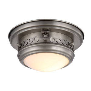Mallory 10 Flush Mount With 1 Light - Vintage Nickel Finish Flush Mount