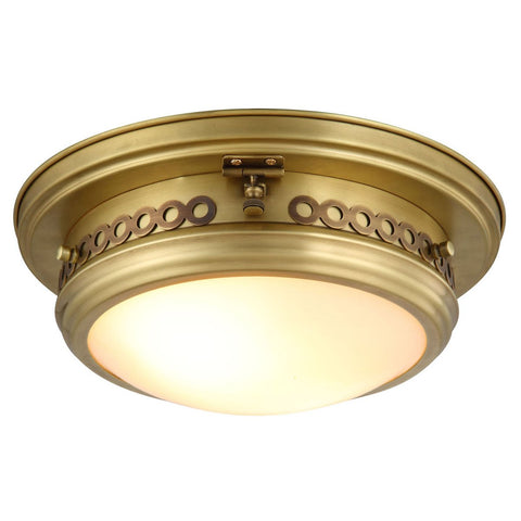 Mallory 13 Flush Mount With 2 Lights - Burnished Brass Finish Flush Mount