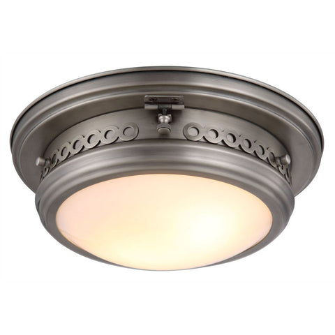 Mallory 13 Flush Mount With 2 Lights - Vintage Nickel Finish Flush Mount