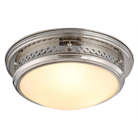 Mallory 16 Flush Mount With 3 Lights - Polished Nickel Finish Flush Mount