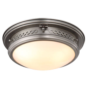 Mallory 16 Flush Mount With 3 Lights - Vintage Nickel Finish Flush Mount