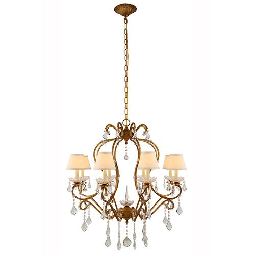 Diana 31 Crystal Chandelier With 8 Lights - Golden Iron Finish Chandelier