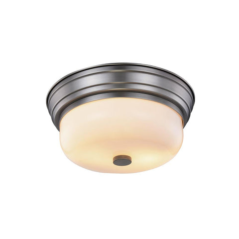 Ellis 15 Flush Mount With 2 Lights - Vintage Nickel Finish Flush Mount