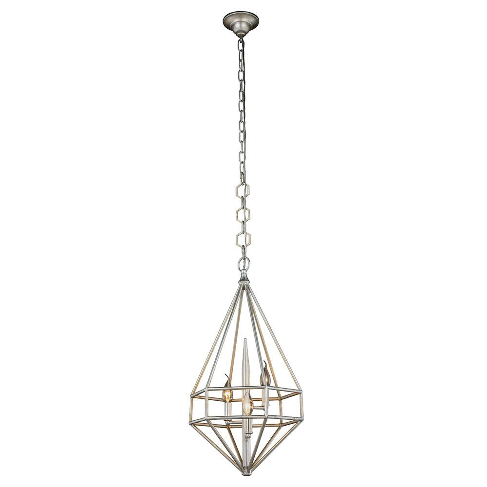 Marquis 14 Mini Pendant With 3 Lights - Vintage Silver Leaf Finish Pendant