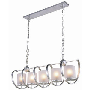 Europa 48 Island Pendant With 5 Lights - Vintage Silver Leaf Finish Pendant