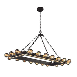 Winston 50 Island Pendant With 20 Lights - Vintage Bronze & Silver Leaf Finish Pendant