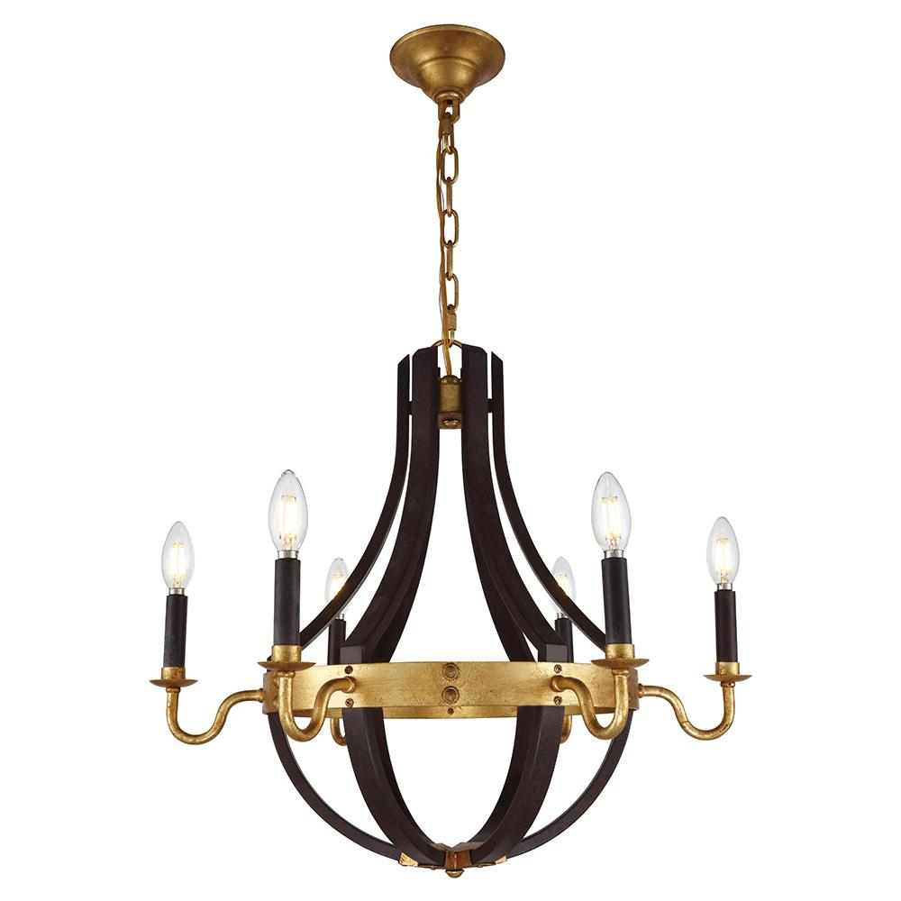 Winston 24 Pendant With 6 Lights - Saddle Rust & Golden Iron Finish Pendant