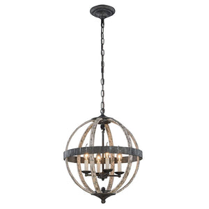 Orbus 18 Mini Pendant With 4 Lights - Ivory Wash & Steel Grey Finish Pendant