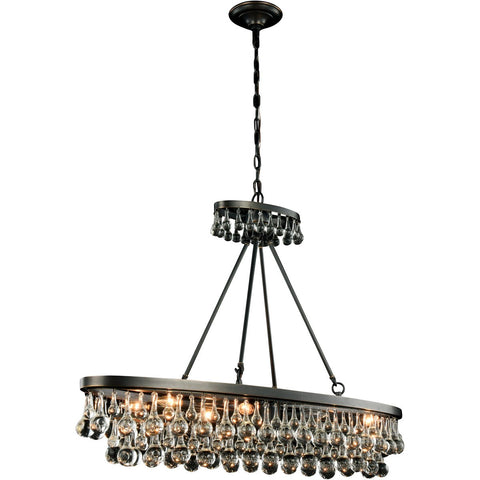 Bettina 44 Crystal Island Pendant Chandelier With 8 Lights - Bronze Finish Chandelier