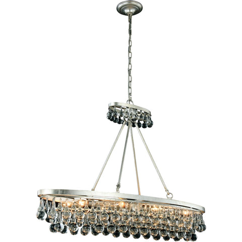 Bettina 44 Crystal Island Pendant Chandelier With 8 Lights - Silver Leaf Finish Chandelier