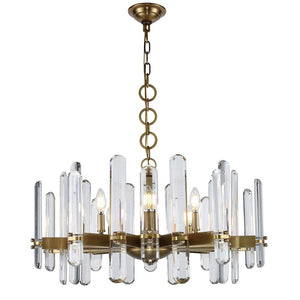 Lincoln 30 Crystal Chandelier With 10 Lights - Burnished Brass Finish Chandelier