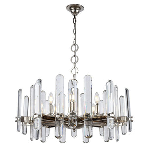 Lincoln 30 Crystal Chandelier With 10 Lights - Polished Nickel Finish Chandelier