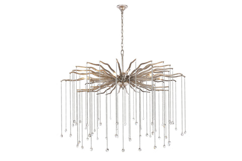 Willow Candle-style chandelier with 7 Light - Dizzled antique Silver Finish