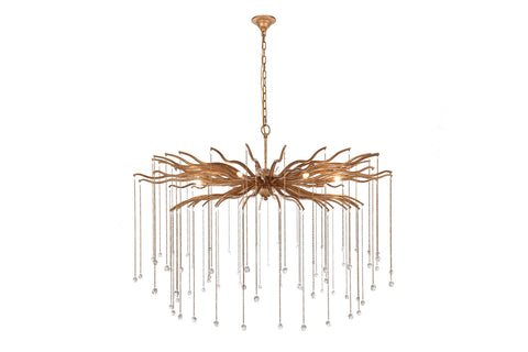 Willow Candle-style chandelier with 8 Light - Dizzled antique gold Finish