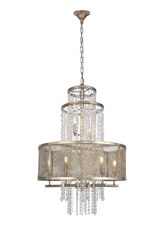 Legacy  5 light Antique Sliver Leaf Pendant
