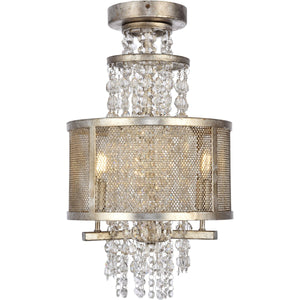 Legacy 12 Crystal Flush Mount With 3 Lights - Antique Silver Leaf Finish Flush Mount