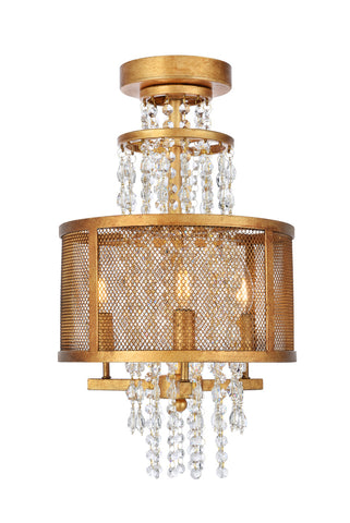 Legacy Flush mount with 3 Lights - Golden Iron Finish