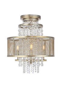 Legacy Flush mount with 3 Lights - Antique Silver Leaf Finish