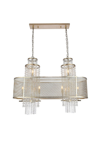 Legacy Candle-style chandelier with 10 lights - Antique Silver Leaf Finish