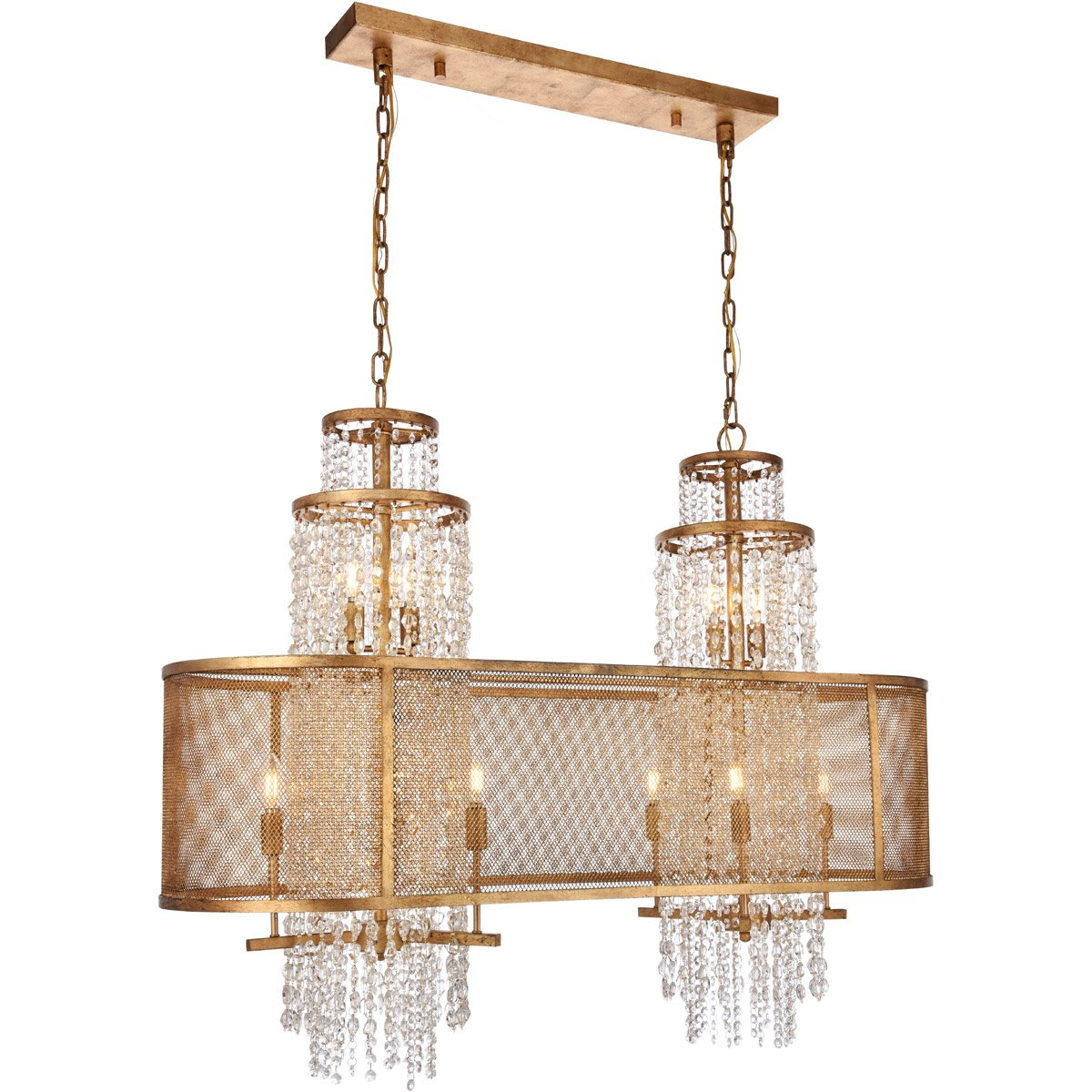 Legacy 16 X 45 Pendant Chandelier With 10 Lights - Golden Iron Finish Chandelier