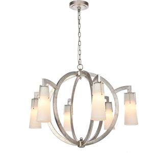 Harlow Nights 36 Pendant With 6 Lights - Antique Silver Leaf Finish Pendant