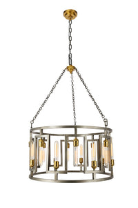 "32"" FONTANA Candle-style chandelier with 16 lights - Vintage Nickel and Electroplated Brass Finish"