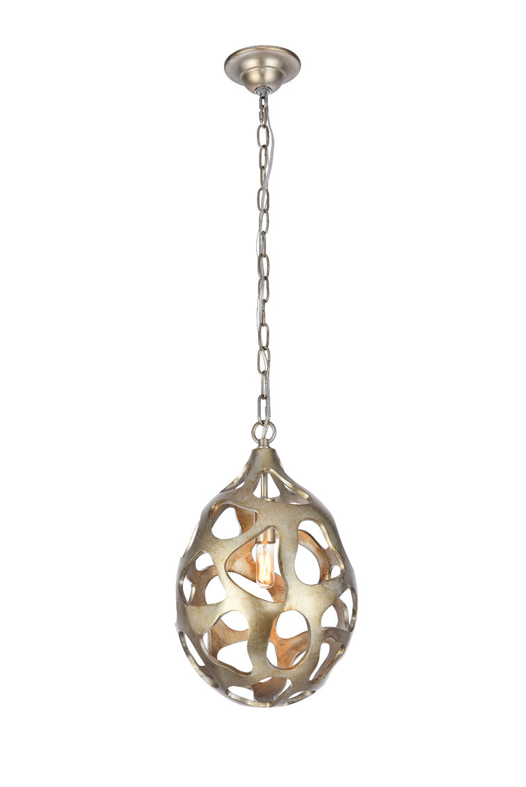 "10"" BOMBAY Collection Candle-style chandelier with 1 light - Gilded Silver Finish"