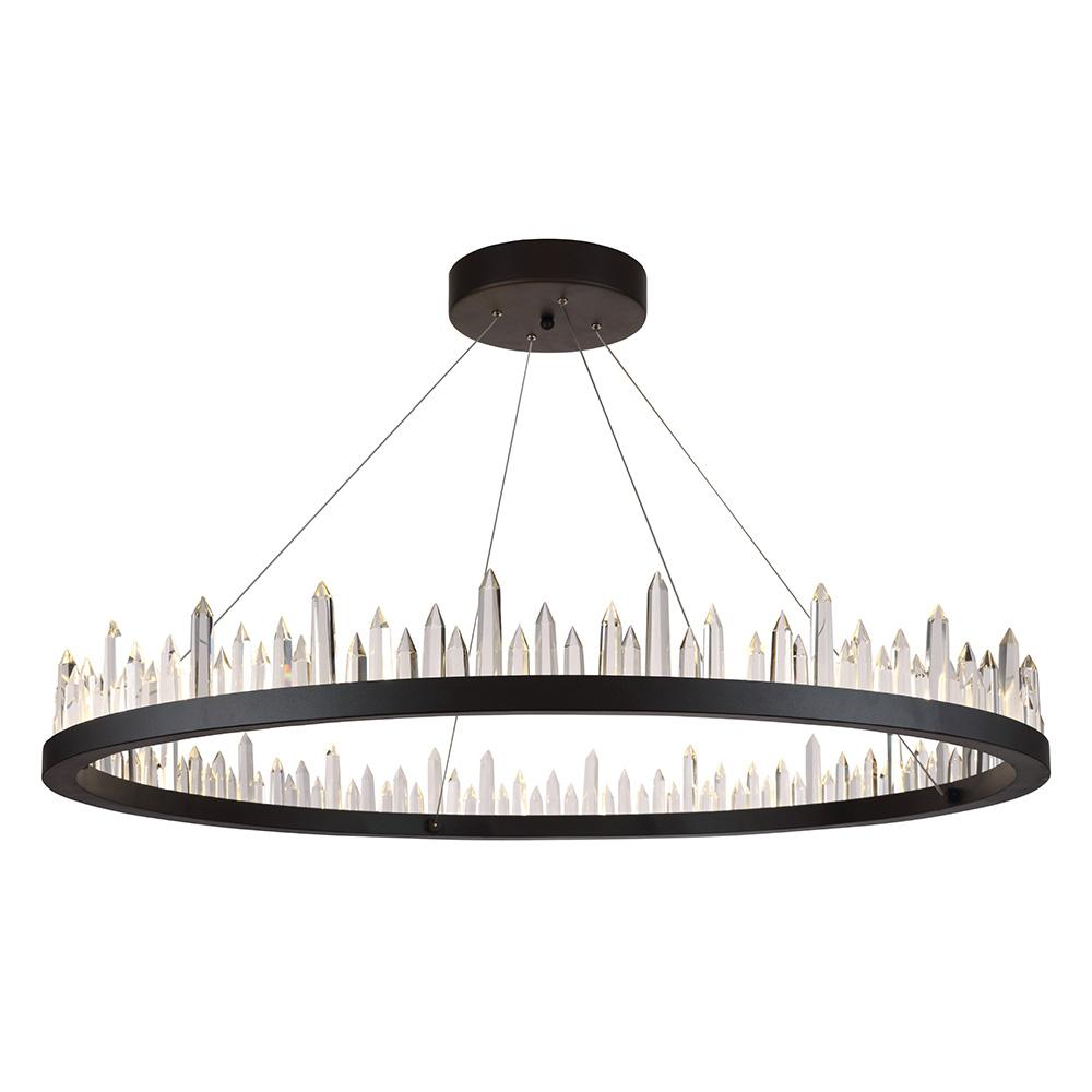 Malta 42 Crystal Chandelier With 56 Lights - Satin Dark Grey Finish Chandelier