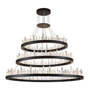 Malta 42 Crystal Chandelier With 128 Lights - Satin Dark Grey Finish Chandelier
