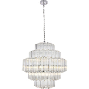 Riviera 23.5 Pendant Chandelier With 12 Lights - Chrome Finish Chandelier