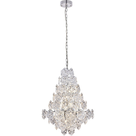 London 24 Pendant Chandelier With 12 Lights - Chrome Finish Chandelier