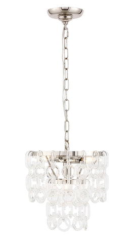 "12"" Debutante Pendant with 3 lights - Polished Nickel Finish"