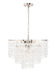 "24"" Debutante Pendant with 9 lights - Polished Nickel Finish"