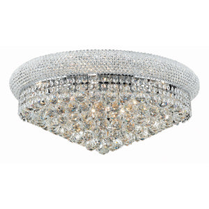 Primo 24 Crystal Flush Mount With 12 Lights - Chrome Finish And Swarovski Elements Crystal Flush Mount