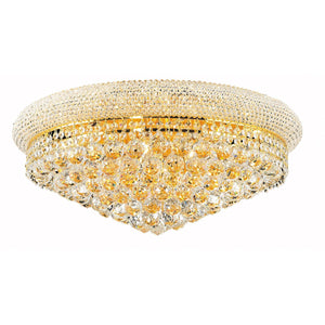 Primo 24 Crystal Flush Mount With 12 Lights - Gold Finish And Swarovski Elements Crystal Flush Mount